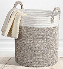 Storage Baskets Large Woven Basket, Cotton Rope Decorative Baskets for Towel, Laundry, Magzine, Gift Basket Crochet Basket Pattern, Knit Basket, Rope Basket, Basket Weaving, Hamper Basket, Crochet Baskets, Crochet Basket Tutorial, Basket Gift, Woven Laundry Basket
