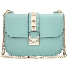 Valentino Lock Small Leather Shoulder Bag (31.505 ARS) ❤ liked on Polyvore featuring bags, handbags, shoulder bags, purses, valentino, turquoise, man shoulder bag, green purse, green leather shoulder bag and leather handbags