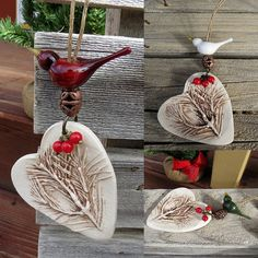 Ceramic Christmas tree ornaments with hand blown birds from elisethomas.etsy.com