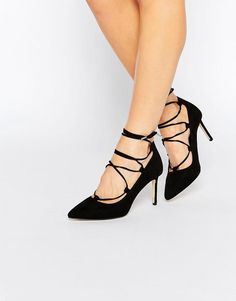 New Look Wide Fit | New Look Wide Fit Suedette Lace Up Heeled Court Shoe at ASOS