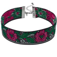 Pink Flower Embroidered Choker Necklace ($9.90) ❤ liked on Polyvore featuring jewelry, necklaces, multicolor, pink jewelry, floral necklace, pink choker necklace, clasp necklace and choker jewelry