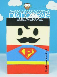 Passo a passo de cartão para dia dos pais com EVA e papel cartão no formato de super Pai! Inspirado no personagem super-Homem criamos este cartão comartes