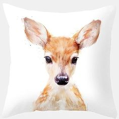 Yoler Pillow Case Decorative Deer Art Outdoor Sofa Cushion Satin Bright Colorful Pillowceses – Friendly Faces