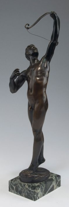 Josef Uphues. Archer, c1900. Nude male bronze. H. 39.4 cm. Cast by H. Gladenbeck Sons, Berlin. Bronze, brown patina. Signed: Uphues. Marked: Akt. Ges. H. Gladenbeck Söhne. Green marble base.