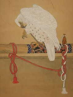Japanese woodblock print: Portrait of a white goshawk. Individual portraits of hawks were a favourite commission during the Edo period reflecting the strong bond of affection between falconer and hawk.