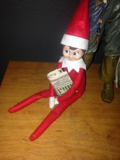 "My son lost a tooth, so the ""Tooth Fairy"", took his tooth & gave our elf the $$ to hold on to"