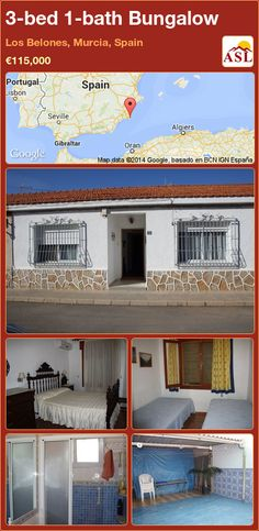 Bungalow for Sale in Los Belones, Murcia, Spain with 3 bedrooms, 1 bathroom - A Spanish Life Murcia Spain, Bungalows For Sale, Parking, Patio, Townhouse, Master Bedroom, Spanish, Mansions, House Styles