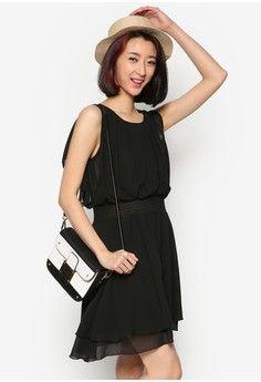 Pleated Front Chiffon Dress from Mayuki in black_1