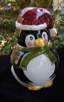Christmas Cookie Jar Penguin Twilight Collection Cute Christmas Cookies, Christmas Jars, Holiday Cookies, Vintage Dishes, Teapots, Cookie Decorating, Gates, Penguins, Twilight