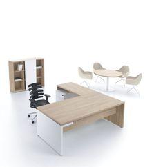 Bureau de direction / en plaqué bois / contemporain / avec rangement intégré - MITO by Simone Bernocchi - MDD