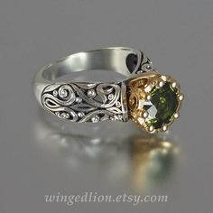 The ENCHANTED PRINCESS engagement ring with Green by WingedLion, $995.00