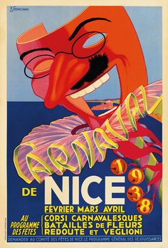 VintageArte - De Nice 1938 : Posters and Framed Art Prints Available Propaganda Art, Carnival Festival, Beach Posters, Nice France, Poster Ads, Travel Images, Nice To Meet, Vintage Travel Posters, France Travel