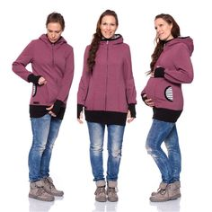 Viva la Mama | Baby Carrying Jacket CHARLIE (3in1- berry). Hoody for pregnancy, maternity, baby wearing and everyday use. No worries about the blanket not covering toes or fingers! :) #vivalamama #maternityfashing #babycarrying #babywearing #nursingwear