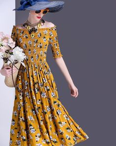 #VIPme Yellow Print Half Sleeve Boat Neck Midi Dress ❤️ Get more outfit ideas and style inspiration from fashion designers at VIPme.com.