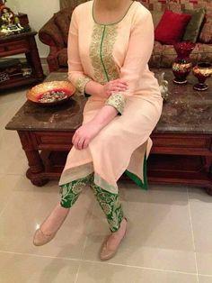 Neck Work Cream & Red Bhagalpuri Embroidered Salwar Suit-Clothing-Fashionandyou