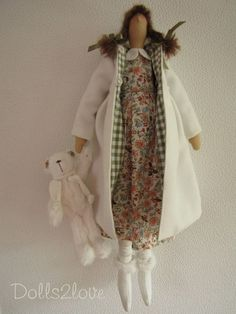 Tilda doll Jenny wearing a liberty fabric dress an by Dolls2love