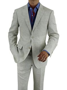 Bianco B Men's Modern Fit Two Button 2 Piece Linen Suit (44 Regular US / 54 Regular EU, Oatmeal)