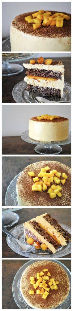 Tarta de chocolate, mango y amaretto   Pecados de Reposteria