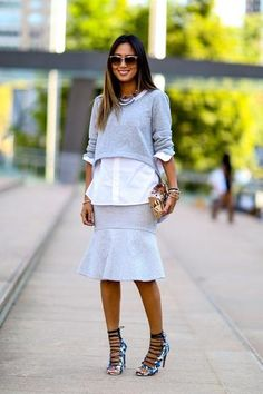 The Best Street Style From New York Fashion Week | Aimee Song of Song of Style mixes lengths with aplomb.