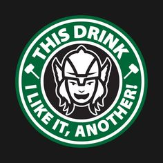 thor t-shirts designed by ForbiddenMonster as well as other thor merchandise at TeePublic. Starbucks Logo, Starbucks Drinks, Starbucks Coffee, Disney Starbucks, Logo Marvel, Comic Book Characters, Comic Books, Coffee Logo, Drink Me