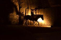 Magie de la rencontre entre le vin, les caves troglodytes et le cheval!
