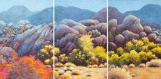 "Katya Coad, I Wait - Triptych (Alabama Hills, Lone Pine, CA), 48"" x 20"" Acrylic on canvas - SOLD"