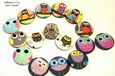 1 Stoffbutton Eulen 5,9♥f Loops, Taschen, Auswahl von ஐღKreawusel-aufgehübschtஐღ  auf DaWanda.com