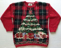 Tiara International Jingle Bell Faux Pearl Ugly Christmas Sweater Top Size L #Tiaranternational #Pullover