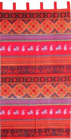 Handmade 100% Cotton Kalamkari Floral Tie Dye Tab Top Curtain Drape Panel 44x88 Red