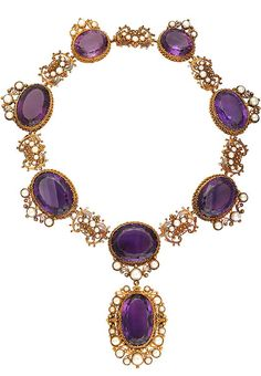 English Victorian Amethyst Gold Necklace Circa 1850. Gold, Amethyst and Pearl Necklace. Circa 1850. 17 1/2 inches plus 2 1/4 inch pendant (removable).