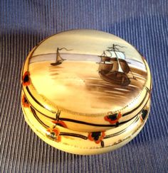 SOLD! NIPPON-Sailing-Ship-Porcelain-Jar-Or-Box-Hand-Painted-w-Gold-Moriage-Beading