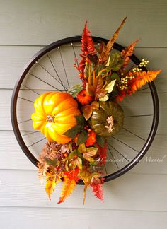Autumn Floral Wreath, Autumn Floral Bike Wreath by Cardinal on the Mantel Diy Spring Wreath, Autumn Wreaths, Holiday Wreaths, Bicycle Wheel Decor, Bicycle Art, Bike Wheel, Bicycle Rims, Deco Floral, Arte Floral