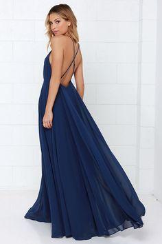 Beautiful Navy Blue Dress - Maxi Dress - Backless Maxi Dress - $54.00