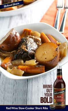 These short ribs are slow cooked in red wine with red potatoes, tender carrots, garlic and chunks of savory onions. It's a delicious, comforting, one-pot meal.