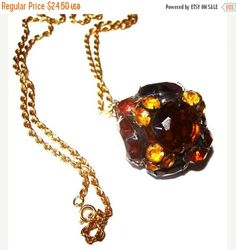 Disco Ball Pendant Chain Necklace Amber by BrightgemsTreasures