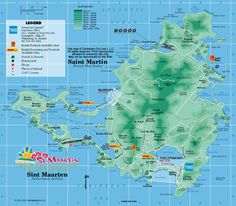 Map of French St. Martin - Dutch St. Maarten from Caribbean-On-Line