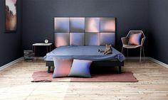 Headboard - upholstered modular wall panels OMBRE No. 2011 Rose Quartz - Serenity - Iron Grey by DesignPolski on Etsy