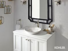 Persia design on Conical Bell sink Damask vanity  Margaux Tall faucet Margaux wall sconce Margaux towel ring