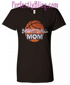 4cdcb1a8 Rhinestone Basketball MOM Short Sleeve T-Shirt - 574 $19.99