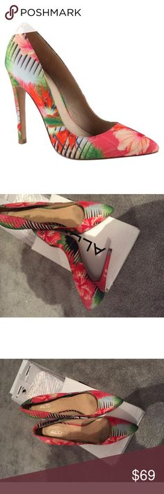 Aldo Aldo floral heels in size 11 , purchased in 2015 . These heels are simply chic . Can be worn with shorts , boyfriend jeans , skirts and dresses . Box is NOT included . ❌NO TRADE❌ sold out everywhere . Retail price was $189.00 . Worn twice . In good condition . Heel height is 3inches Aldo Shoes Heels