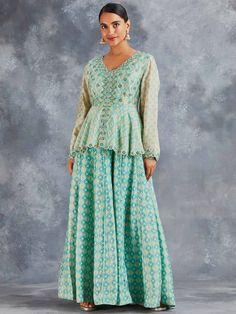 Peplum Blouse, Printed Blouse, Angarakha Kurta, Layered Kurta, Kurti Designs Party Wear, Cotton Tunics, Buy Prints, Festival Outfits, Blue Lace