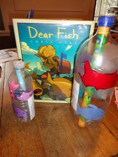 Mail messages in a bottle after reading DEAR FISH by Chris Gall. We did this activity to celebrate Gall's birthday on November 28.