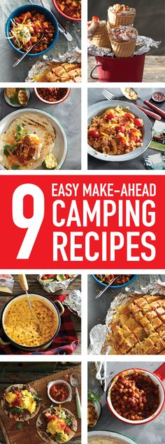 Prep in the kitchen, pack in the cooler and do (almost) nothing but enjoy these simple make-ahead camping meals by the light of the fire. Easy Camping Food Ideas No Cooking Camping Food Make Ahead, Camping Bedarf, Family Camping, Camping Hacks, Camping Foods, Backpacking Meals, Camping Cooking, Camping Dishes, Camping Guide