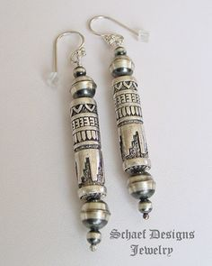 Schaef Designs Sterling Silver Southwestern style tube & bench bead earrings  Schaef Designs Southwestern turquoise Jewelry | New Mexico