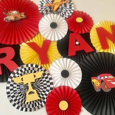 Cars Themed Backdrop This set of handmade paper fans will be the perfect addition to your next party, event, or photo shoot! Hang them above your dessert table, fill a blank wall, o Hot Wheels Party, Festa Hot Wheels, Hot Wheels Birthday, Race Car Birthday, Race Car Party, Race Cars, 3rd Birthday, Birthday Table, Disney Cars Party