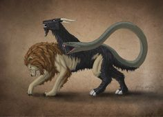 More classic Lycian Chimera. The Chimera is said to be related to Cerberus, Ortherus, Hydra, the Sphinx, and other mythic creatures. Greek Creatures, Magical Creatures, Chimera Mythology, Greek Mythology, Dragon's Dogma, Carlin, Legendary Creature, Mythological Creatures, Monsters