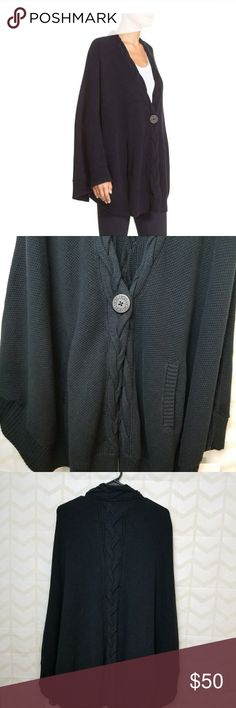 NWT UGG Angeline Black Knit Cape Sweater XS-S New Ugg Angeline Black Knit Cape Sweater; Women's XS-S  Herringbone-knit cape with braid details is an easy, throw-on layer great for downtime. Please note that this is a cape - there are no sleeves, but there are sleeve cuffs.  Runs large  Single logo-button closure (extra button provided). Ribbed trim. Front hand-warmer pockets. 100% cotton.Machine wash Style #1015088MSRP $128 UGG Sweaters Shrugs & Ponchos
