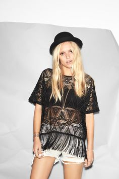 Cool festival outfit from Noisy may. Fringes are a festival must have this summer.