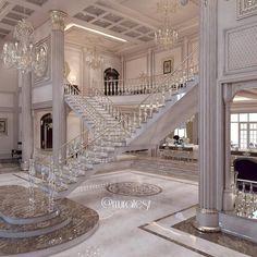 Dream House Interior, Luxury Homes Dream Houses, Dream Home Design, Modern Mansion Interior, Luxury Interior, House Hall Design, Modern House Design, Staircase Design, Foyer Design