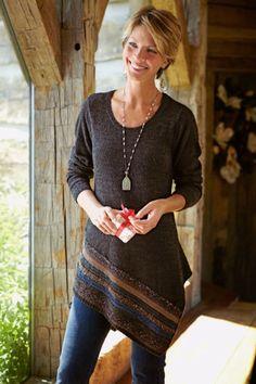 Raku Tunic - Striped Tunic Top, Knit Tunic, Scoop Neckline | Soft Surroundings